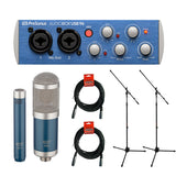 PreSonus AudioBox 96 USB 2.0 Audio Recording Interface with 550/551 Microphone Ensemble Kit (Blue), Microphone Stand (2-Pcs) & 20' XLR Cable (2-Pcs) Bundle