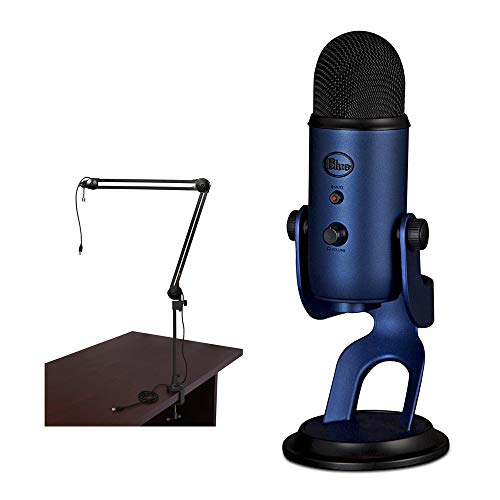 Blue Yeti USB Microphone (Midnight Blue) with BAI-2U Two-Section Broadcast Arm plus Internal Springs & USB Cable Bundle