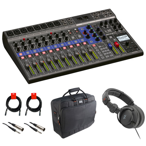 Zoom LiveTrak L-12 - 12-Channel Digital Mixer & Multitrack Recorder with Cables and Headphone