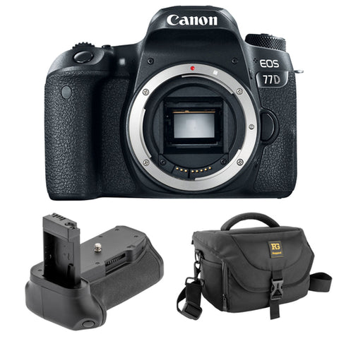 Canon EOS 77D DSLR Camera (Body Only) with Vello BG-C15 Battery Grip and Hunter 25 DSLR Holster Bag