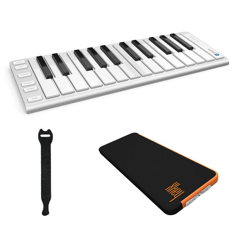 CME Xkey Air 25 Bluetooth Mobile Music Keyboard (Silver) with CME Supernova Xkey Carrying Case & Fastener Straps (10-Pack) Bundle
