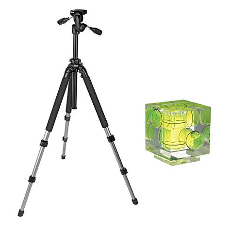 Slik Pro 700 DX Tripod with 700DX 3-Way, Pan-and-Tilt Head (Titanium) with Vello Three-Axis Bubble Level Bundle