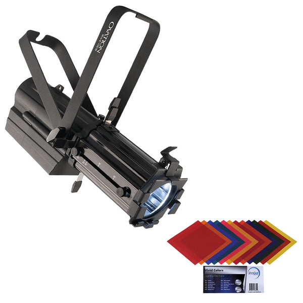 "CHAUVET PROFESSIONAL Ovation Min-E-10CW LED Ellipsoidal Spot (19 to 36 Degree) with Pro Gel Vivid Colors Filter Pack 12 x 12"" Bundle"