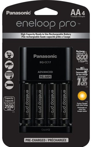 Panasonic Eneloop Pro Rechargeable AA Ni-MH Batteries with Charger