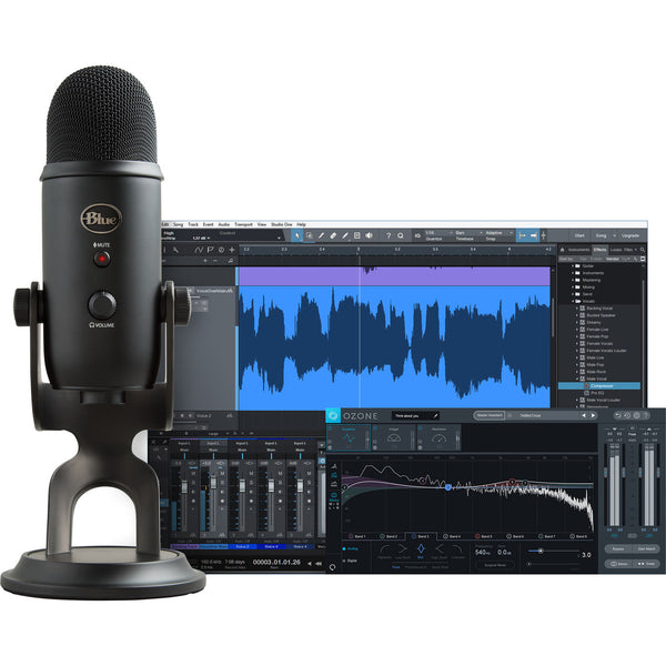 Blue Yeti Professional Recording Kit for Vocals with USB Mic & Software (Blackout), Polsen HPC-A30 Studio Monitor Headphones & Pop Filter Bundle