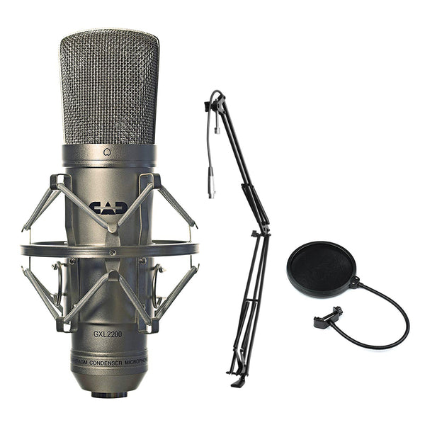 CAD GXL2200 Cardioid Condenser Microphone (Silver) with MBS5000 Broadcast/Webcast Boom Arm & Pop Filter Bundle