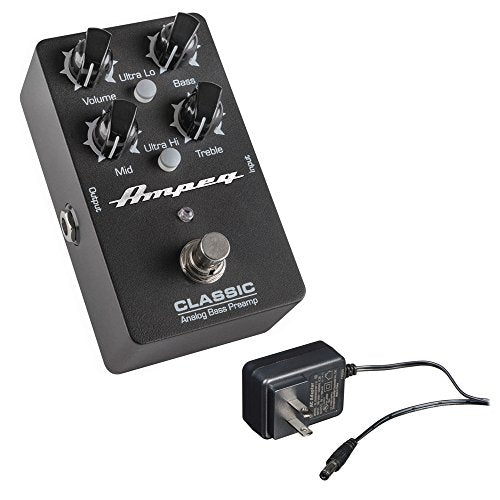 Ampeg Classic Analog Bass Preamp Pedal with Behringer PSU-SB 9VDC Power Adapter
