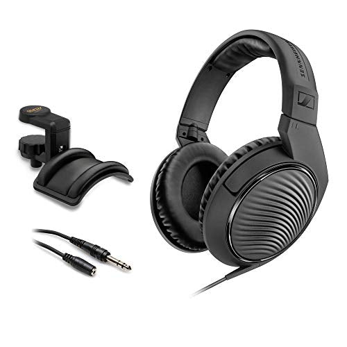 "Sennheiser HD 200 Pro Monitoring Headphones with Headphone Holder & Stereo 1/4"" Male Headphone Extension Cable 10' Bundle"