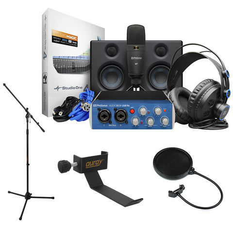 PreSonus AudioBox Studio Ultimate Deluxe Hardware/Software Recording Bundle with Headphone Holder, Tripod Microphone Stand & Pop Filter Kit