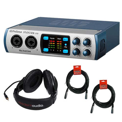PreSonus Studio 26 - 2x4 192 kHz, USB 2.0 Audio/MIDI Interface with Stereo Headphones and 2x XLR Cable