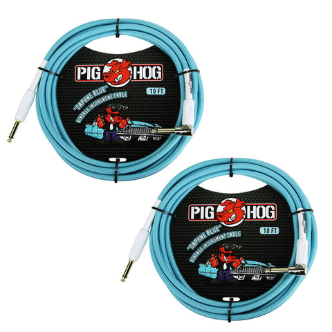 "Pig Hog PCH10DBR 1/4"" to 1/4"" Right-Angle Daphne Blue Guitar Instrument Cable, 10 Feet (2-Pack)"