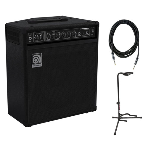 Ampeg BA-112V2 75W 1x12 Combo Bass Amplifier with SC10W 10-Feet Instrument Cable, 6mm Woven & XCG-4 Classic Guitar Stand Bundle