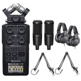 Zoom H6 All Black 6-Track / 6-Input Portable Recorder with Single Mic Capsule, 2X Audio-Technica AT2020 Studio Microphone Bundle