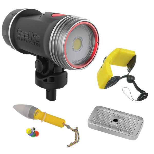 Sealife SL677 Sea Dragon 2000F Photo-Video Dive Light with Floating Wrist Strap, Nano Spotter & Silica Gel Metal Case Bundle