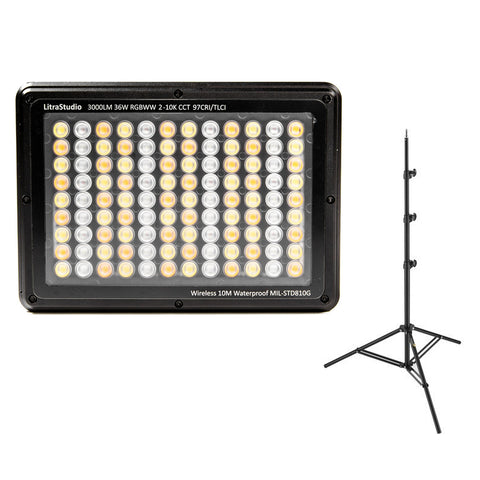 LITRA LitraStudio RGBWW Photo & Video LED Light with Impact 8' Light Stand Bundle