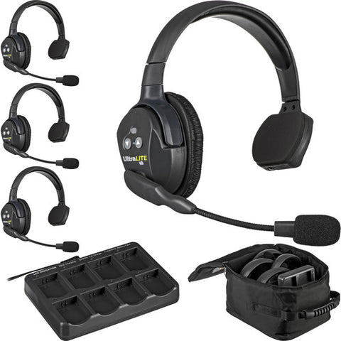 Eartec UL4S | UltraLITE 4 Person System with 4 Single Headsets