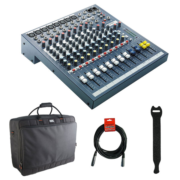 Soundcraft EPM 12 - 12 Mono + 2 Stereo Audio Console with Gator Cases 2519 Mixer Bag, Fastener Straps (10-Pack) & XLR Cable Bundle