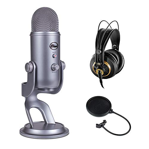 Blue Yeti USB Microphone (Cool Gray) with AKG K 240 Studio Professional Stereo Headphones & Pop Filter Bundle