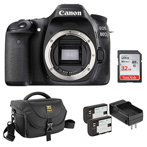 Canon EOS 80D DSLR Camera (Body Only) with Ruggard Journey 34 DSLR Shoulder Bag, LP-E6 Lithium-Ion Battery Pack and 32GB Memory Card