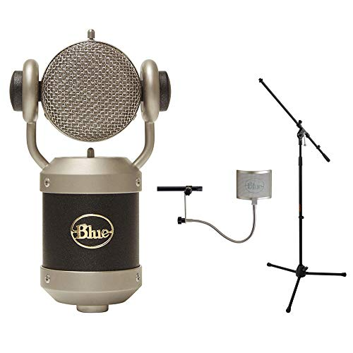 Blue Mouse Microphone with Blue Universal Wire Mesh Windscreen & Tripod Microphone Stand w/Fixed Boom Kit