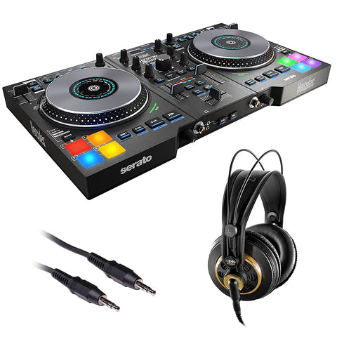 Hercules DJControl Jogvision DJ Software Controller with AKG K 240 Studio Pro Headphones & Stereo Mini Cable Bundle