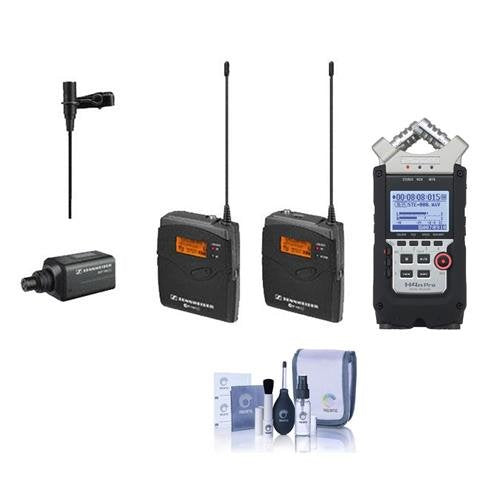 Sennheiser ew 100-ENG G3-A Wireless Mic System with EK 100 G3 Diversity Receiver - Frequency Band A (Frequency Range: 516-558MHz), Zoom H4n Pro Handy Mobile 4-Track Recorder, Cleaning Kit