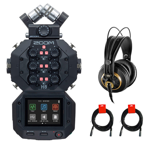 Zoom H8 8-Input / 12-Track Portable Handy Recorder with AKG Pro Headphones & 2x XLR Cable Bundle