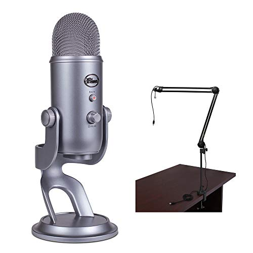 Blue Yeti USB Microphone (Cool Gray) with BAI-2U Two-Section Broadcast Arm plus Internal Springs & USB Cable Bundle
