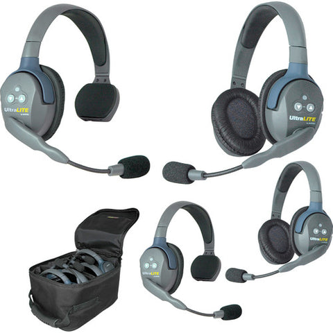 Eartec UL422 UltraLITE 4-Person Headset System with Batteries, Charger & Case (2 Single-Sided, 2 Double)