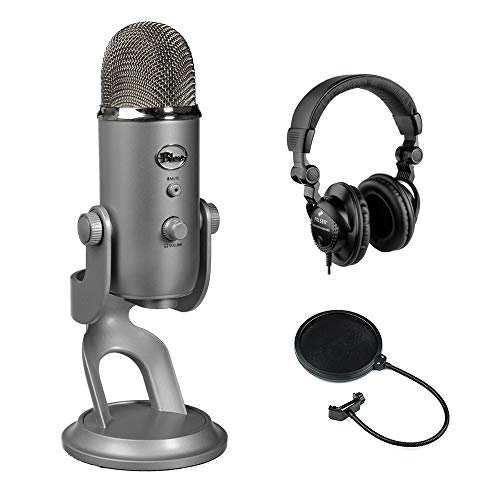 Blue Yeti USB Microphone (Silver) with Polsen HPC-A30 Studio Monitor Headphones & Pop Filter Bundle