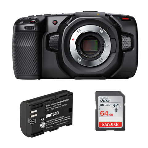 Blackmagic Design Pocket Cinema Camera 4K with LP-E6N Lithium-Ion Battery Pack & 64GB Ultra UHS-I SDXC Memory Card Bundle