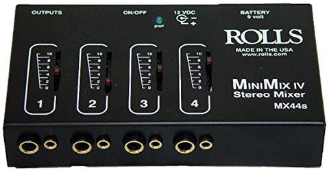 Rolls MX44s Mixer 1/4 In. and 1/8 In. TRS Stereo High-Impedance Inputs, Batte...
