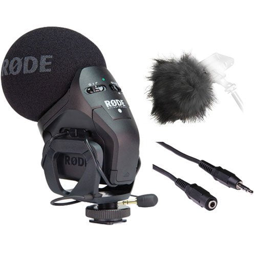 Rode Stereo VideoMic Pro w/ Mini Male to Female Cable & sham Fur Windshield