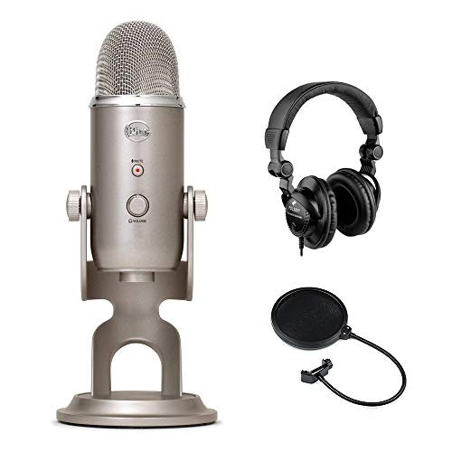 Blue Yeti USB Microphone (Platinum) with Polsen HPC-A30 Studio Monitor Headphones & Pop Filter Bundle