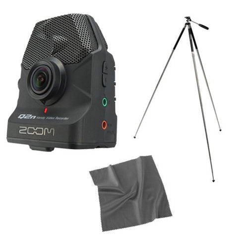 Zoom Q2n Handy Video Recorder with Travel Tripod and Cleaning Cloth