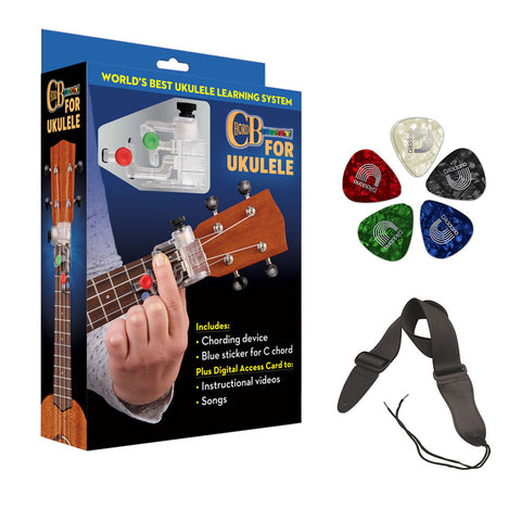 Chorbuddy For Ukulele - Complete Learning Package with Planet Waves Classic Pearl 10-Pack Guitar Pick & Guitar Strap Bundle