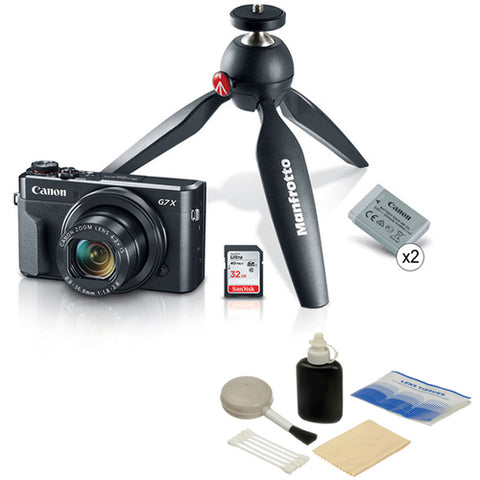 Canon PowerShot G7 X Mark II Digital Camera Video Creator Kit with Lens Cleaning Kit
