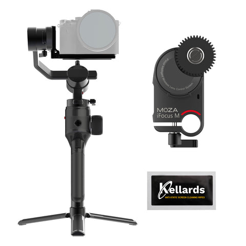 Moza AirCross 2 3-Axis Handheld Gimbal Stabilizer with Moza iFocus-M Lens Motor & Kellards Cleaning Wipes Bundle
