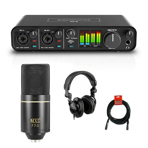 Motu M4 4x4 USB Audio Interface with MXL 770 Cardioid Microphone (Black), HPC-A30 Studio Monitor Headphones & XLR Cable Bundle