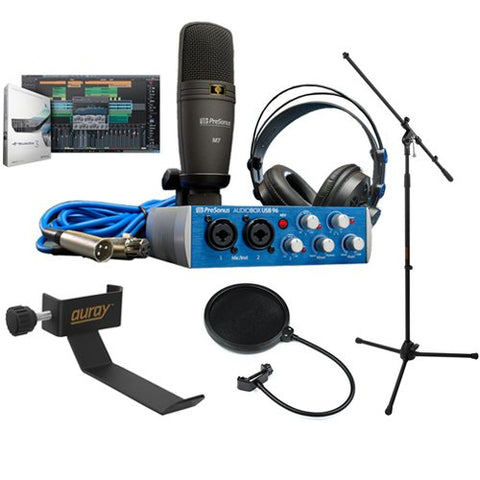 PreSonus AudioBox 96 Studio Complete Hardware/Software Recording Kit with COHH-2 Clamp On Headphone Holder, Tripod Microphone Stand and Pop Filter