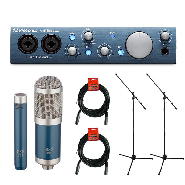 PreSonus AudioBox iTwo USB 2.0 & Recording Interface with MXL 550/551 Microphone Ensemble Kit (Blue), Microphone Stand (2-Pcs) & 20' XLR Cable (2-Pcs) Bundle