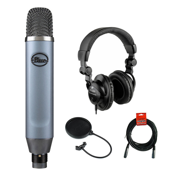 Blue Ember Small Diaphragm Studio Condenser Microphone with Polsen HPC-A30 Monitor Headphones, XLR Cable & Pop Filter Bundle