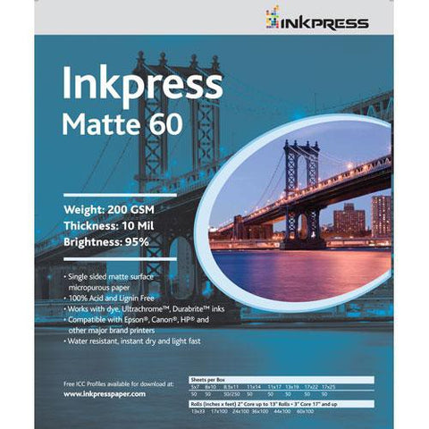 "Inkpress Media Matte 60 Paper for Inkjet , 8x10"" 50 Sheets"