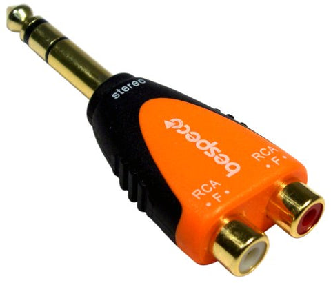 "Bespeco 1/4"" Stereo Male to 2x RCA Female Adapter (Black/Orange)"