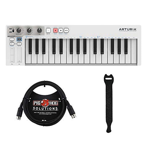 Arturia KeyStep Controller / Sequencer with & 6ft MIDI & Touch Fastener Straps (10-Pack) Bundle