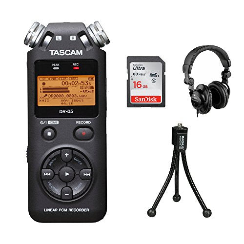 Tascam DR-05 Portable Handheld Digital Audio Recorder with SnapPod Tabletop Tripod, HPC-A30 Monitor Headphones & 16GB Memory Card Kit