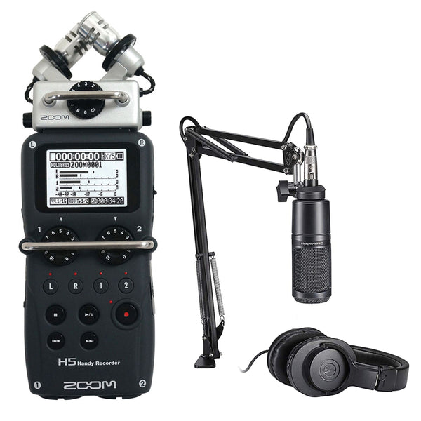 Zoom H5 Recorder Podcast Kit with Audio-Technica AT2020 Studio Microphone Bundle