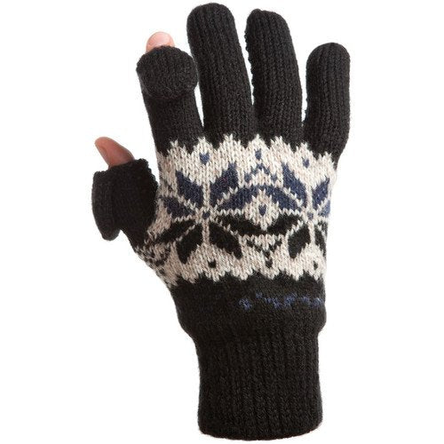 Freehands Women's Rag-Wool Gloves (Large/X-Large, Black)
