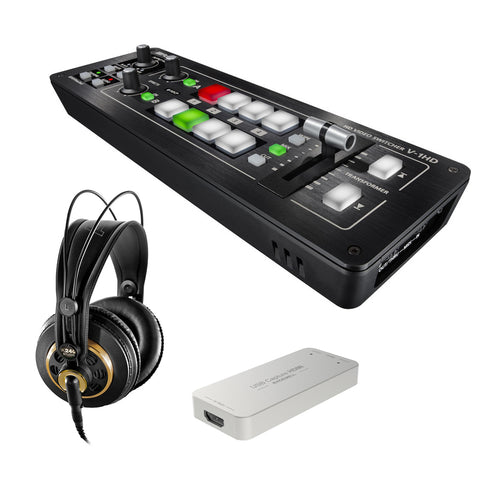Roland V-1HD Portable 4 x HDMI Input Switcher with Magewell USB Capture HDMI Gen 2 & AKG K 240 Studio Pro Headphones Bundle