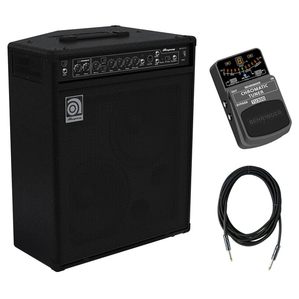 Ampeg BA-210V2 450W 2x10 Combo Bass Amplifier with TU300 Ultimate Guitar/Bass Tuner & C10W 10-Feet Instrument Cable, 6mm Woven Bundle